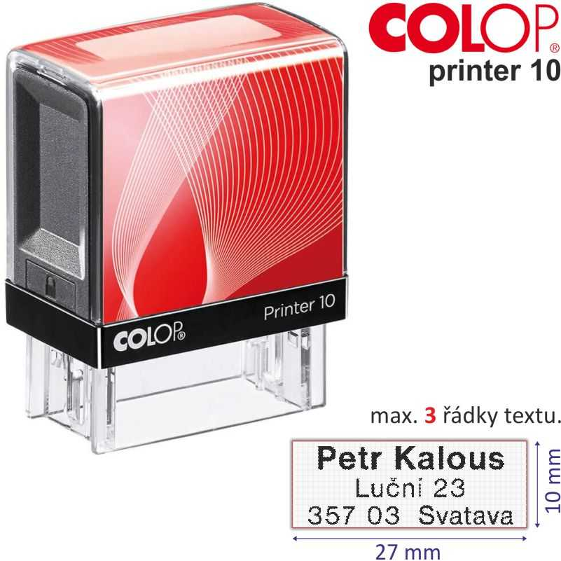 Razítko Colop Printer 10 - velikost: 10 x 27 mm (max. 3 řádky textu)