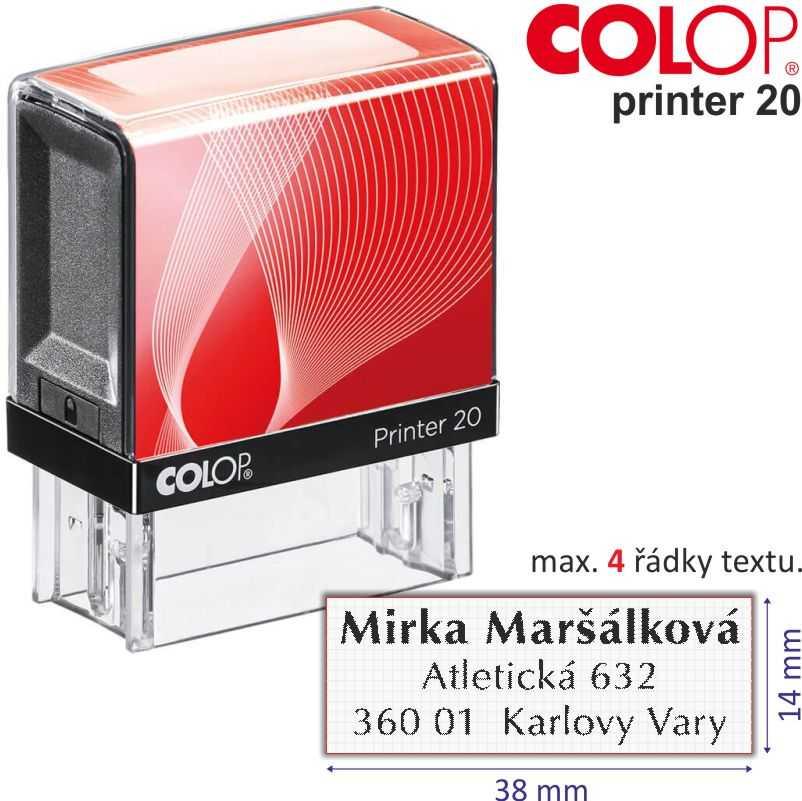 razítko Colop Printer 20 - velikost: 14 x 38 mm (max. 4 řádky textu)