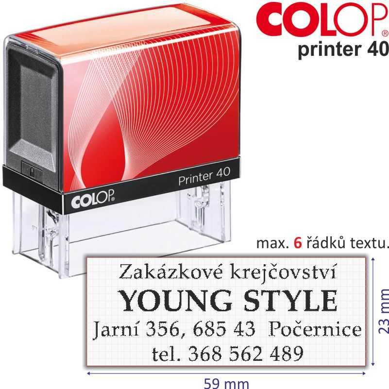 razítko Colop Printer 40 -  velikost: 23 x 59 mm (max. 6 řádků textu)